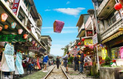 Thả đèn lòng tại shifen - taiwan